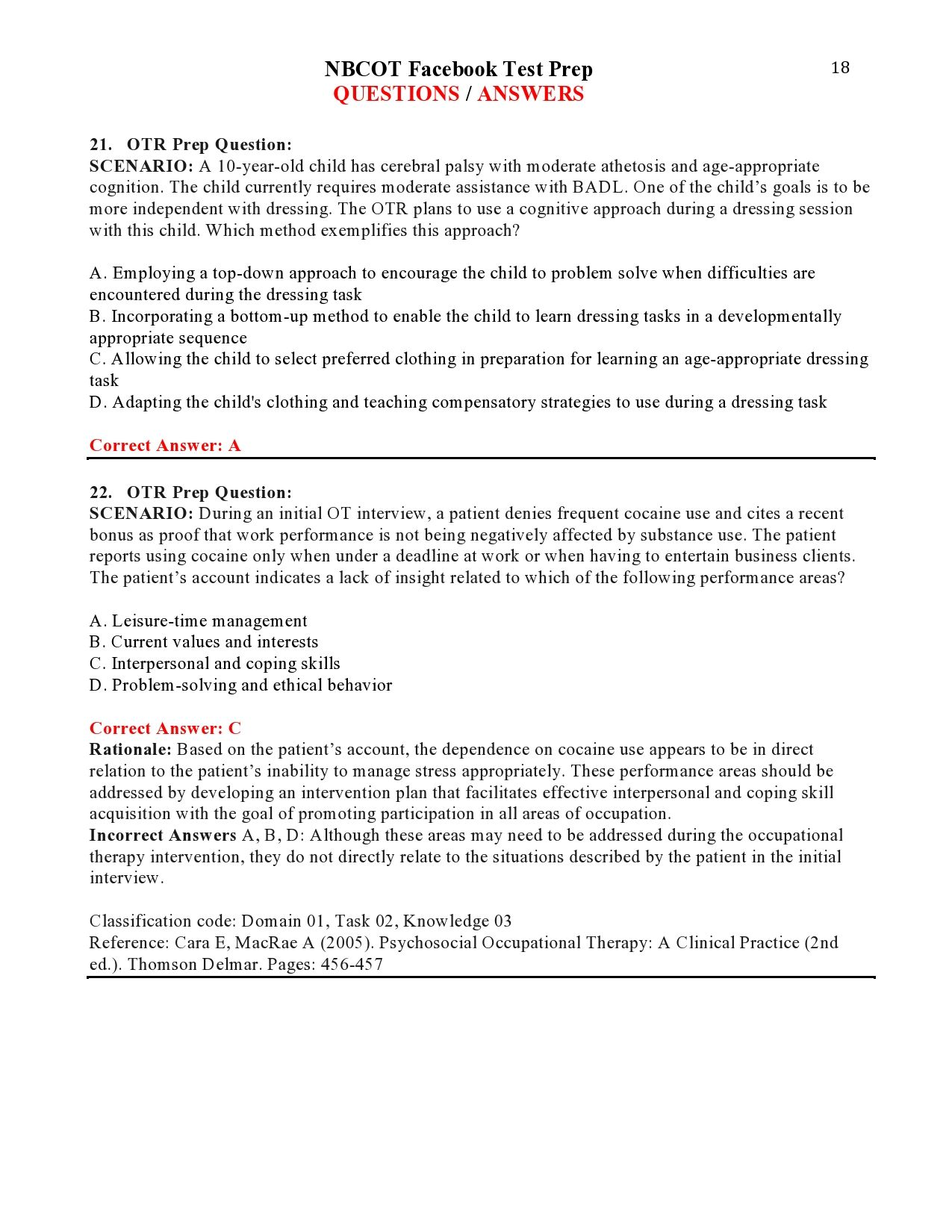 Nbcot Facebook Test Prep Questions Answers Page 18