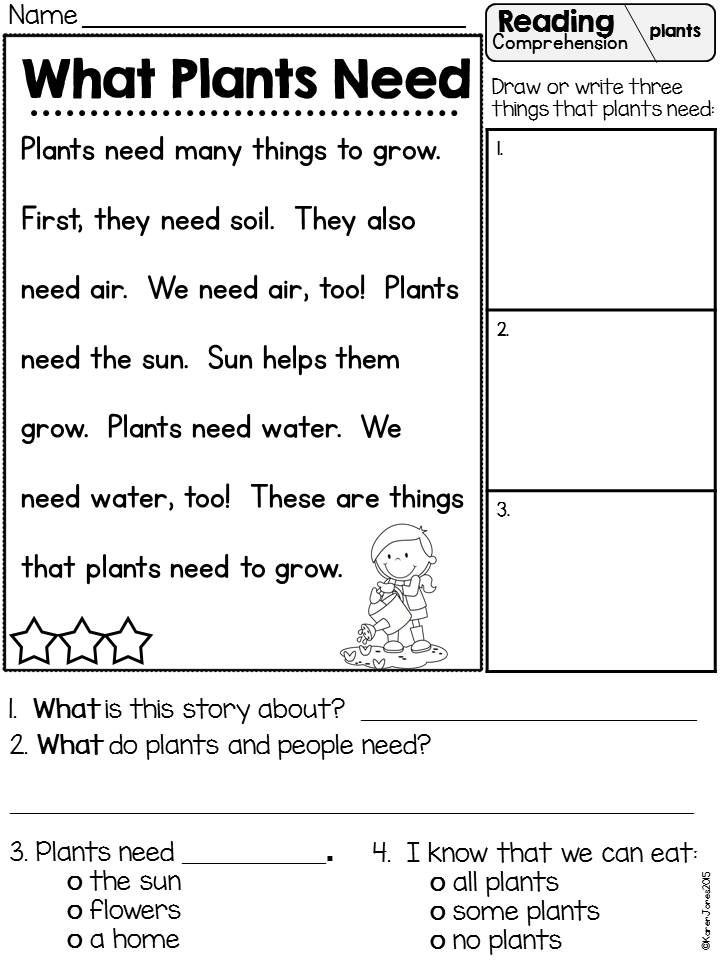 Plants Unit Plan For K 1 Reading Comprehension Literacy And Math