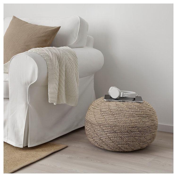 Sandared Pouf Beige Ikea Coussins De Sol Pouf En Tissu Decoration Interieure Zen