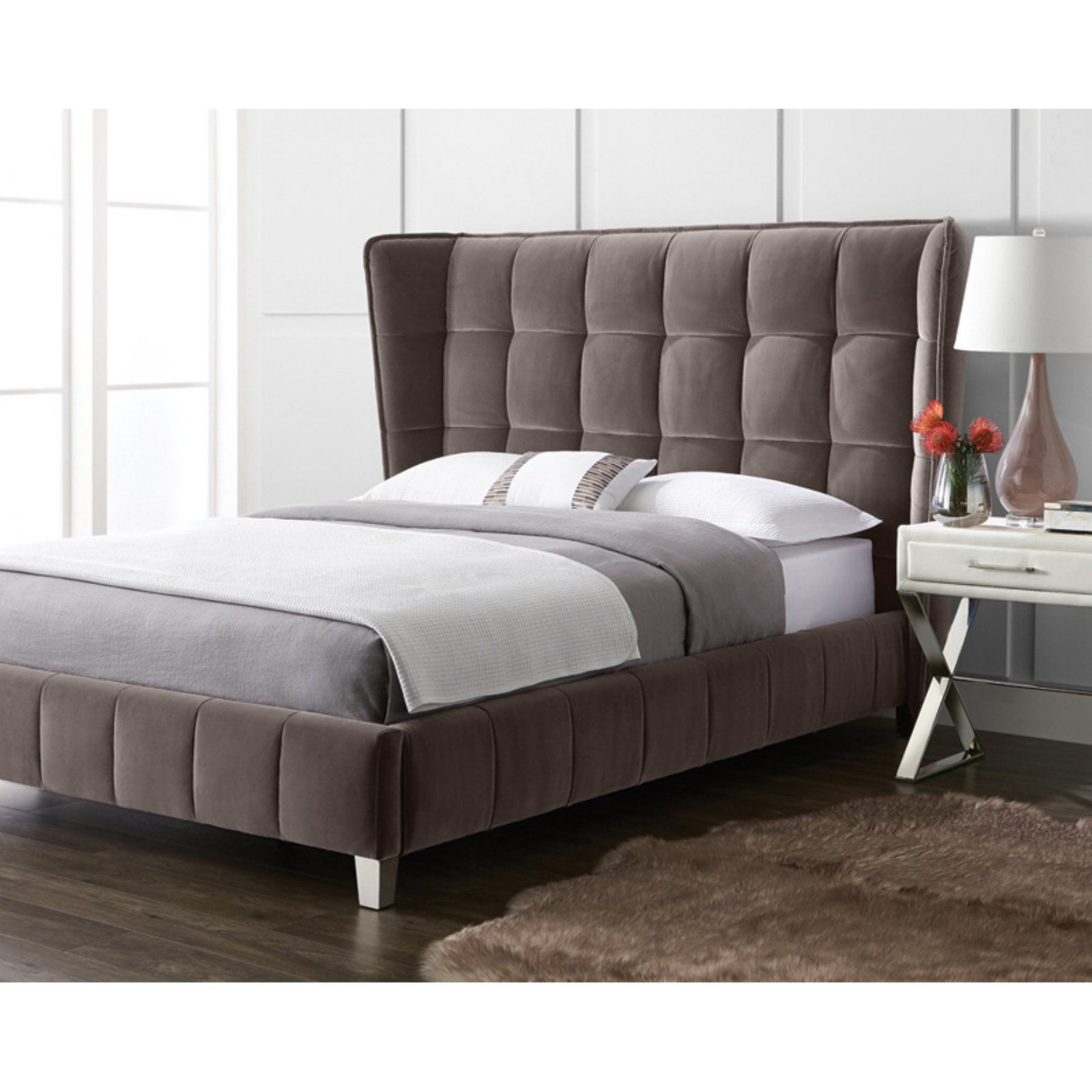 Sunpan Cadam Wingback Platform Bed 100872 Luxury