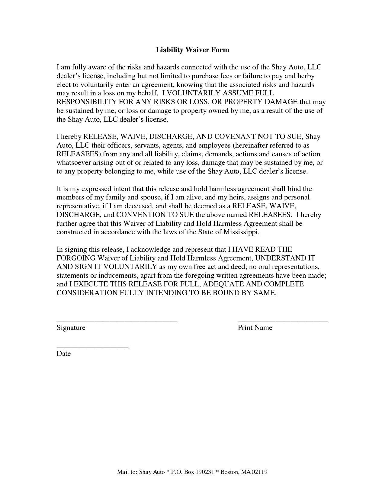 Sample Waiver Of Liability samples of contract letters