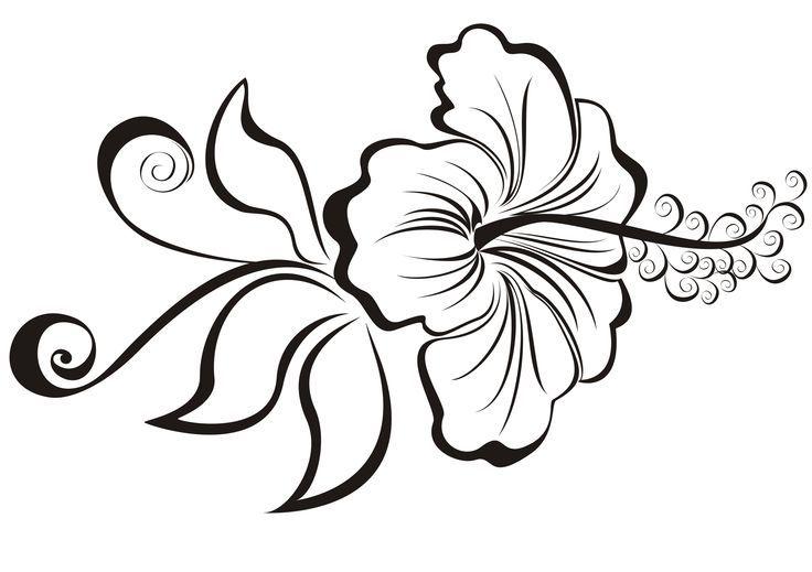 Black Outline Hibiscus Flower Tattoo Stencil
