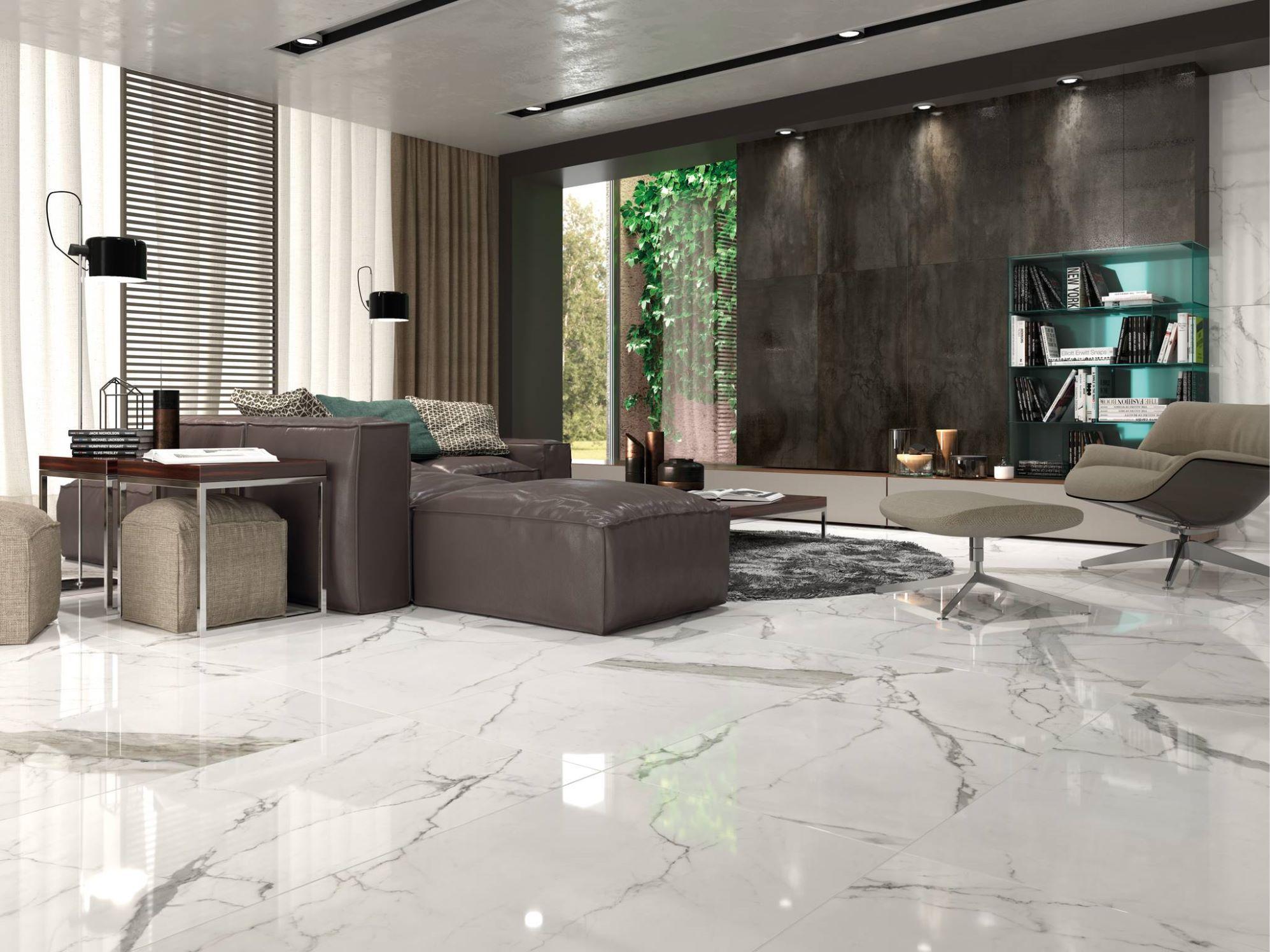 Statuario Cifre Cer 225 Mica Marbre Living Room Flooring
