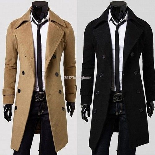 Men's Slim Stylish Trench Coat Winter Long Jacket Double Breasted ...