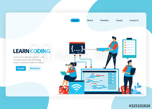 Vector homepage for learning programming and coding