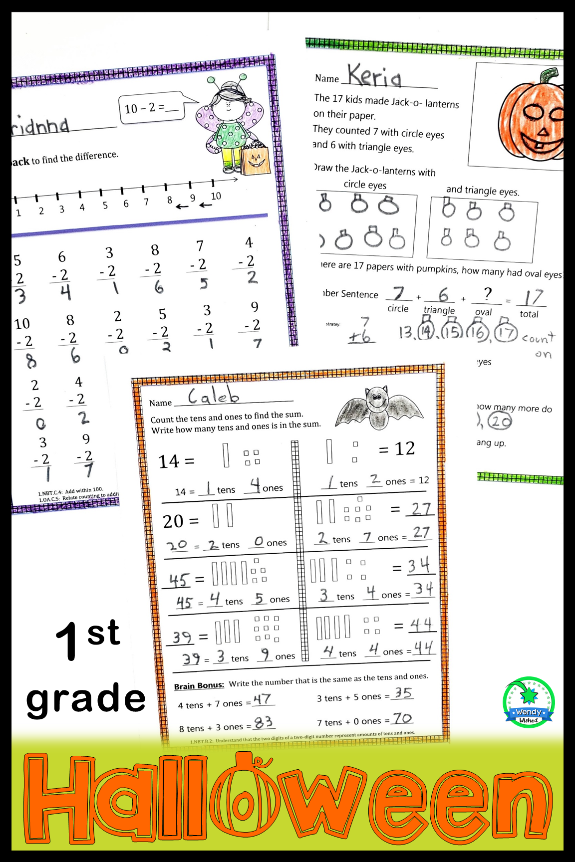 Halloween Math Worksheets For First Grade With Digital
