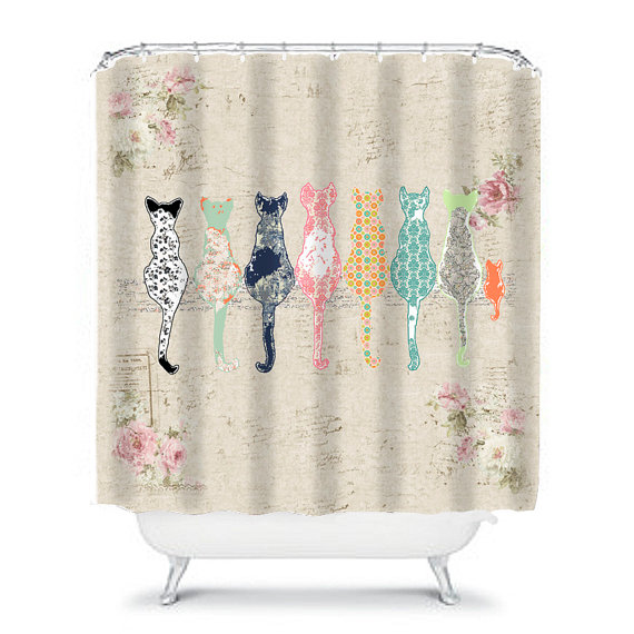 Cat shower curtain shabby chic shower curtain cats shower curtain ...