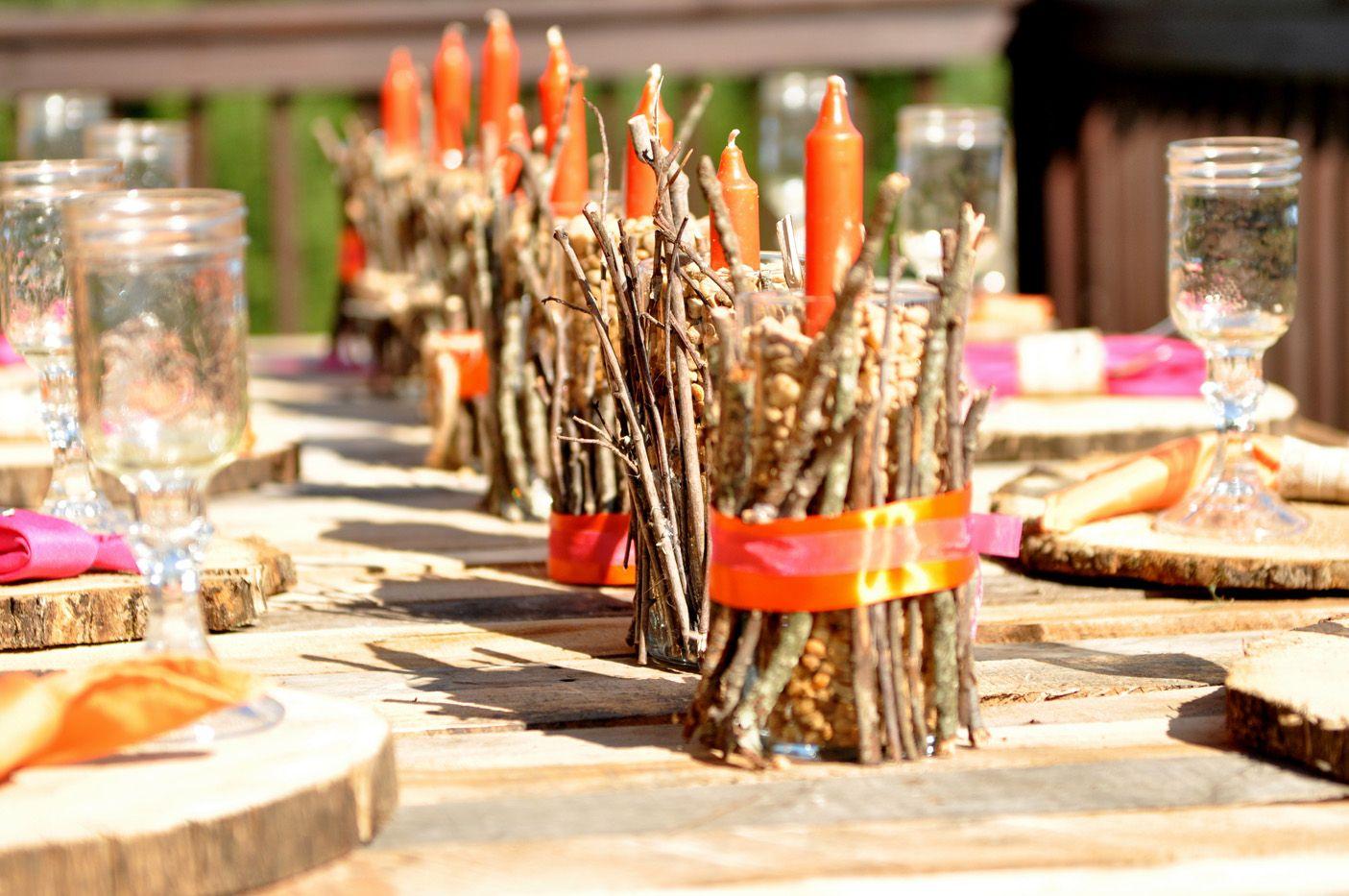 twig candle setting