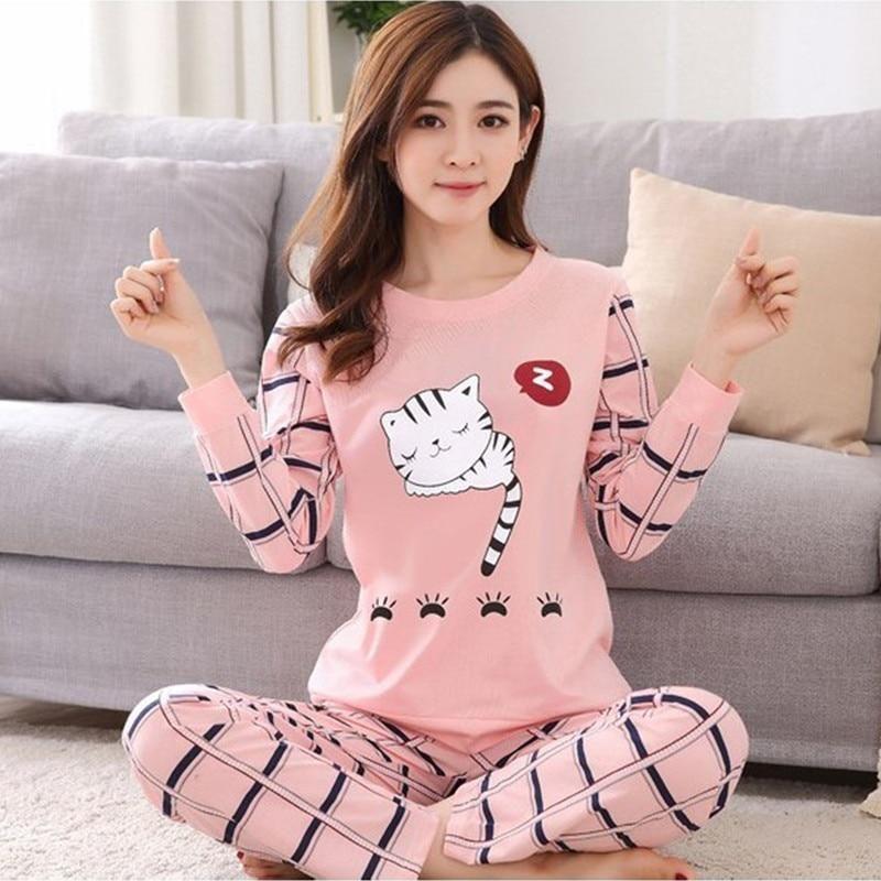 7d83bbb6a 2018 Autumn women Pajamas Sets casual Homewear Long Sleeve Thin ...