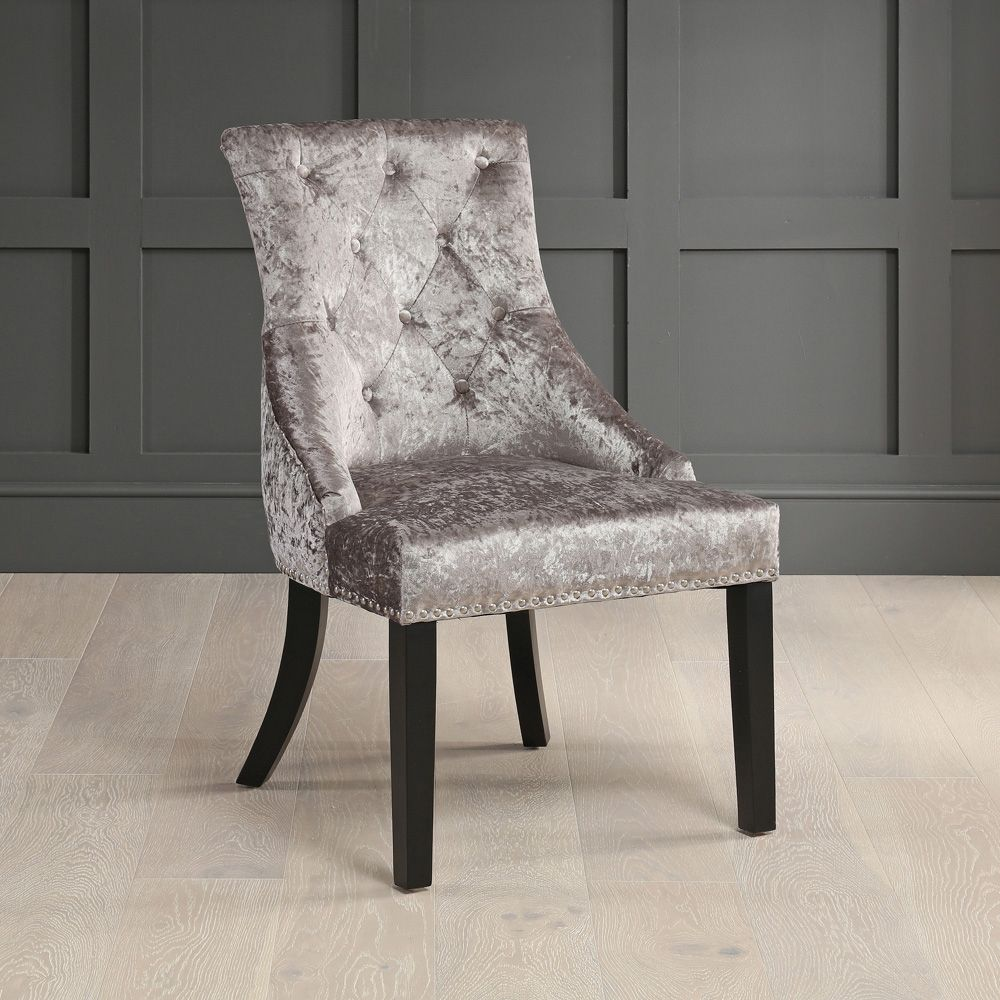 luxury silver velvet scoop back dining chair with black legs
