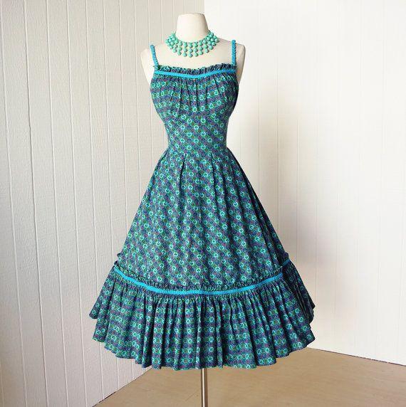 Vintage Wedding Dresses Miami: Vintage 1950's Dress ...fabulous ALIX Of MIAMI Cotton By