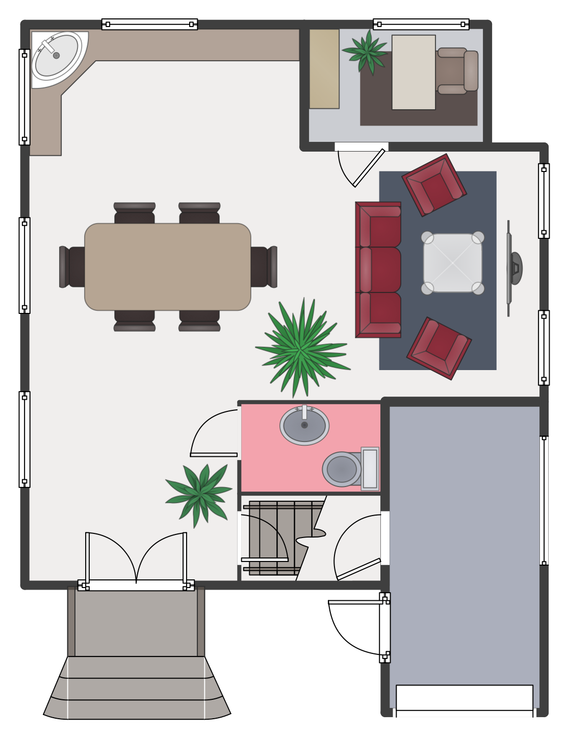 Ground Floor Plan This Example Was Created In Conceptdraw Pro Using The Libraries From The Floor P Floor Plans Interior Design Furniture Floor Plan Symbols
