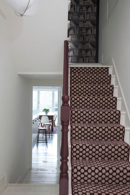 Dotty Carpet By Alternative Flooring, Spotty Stair Runner, Vintage Stools  And White Painted Floorboards