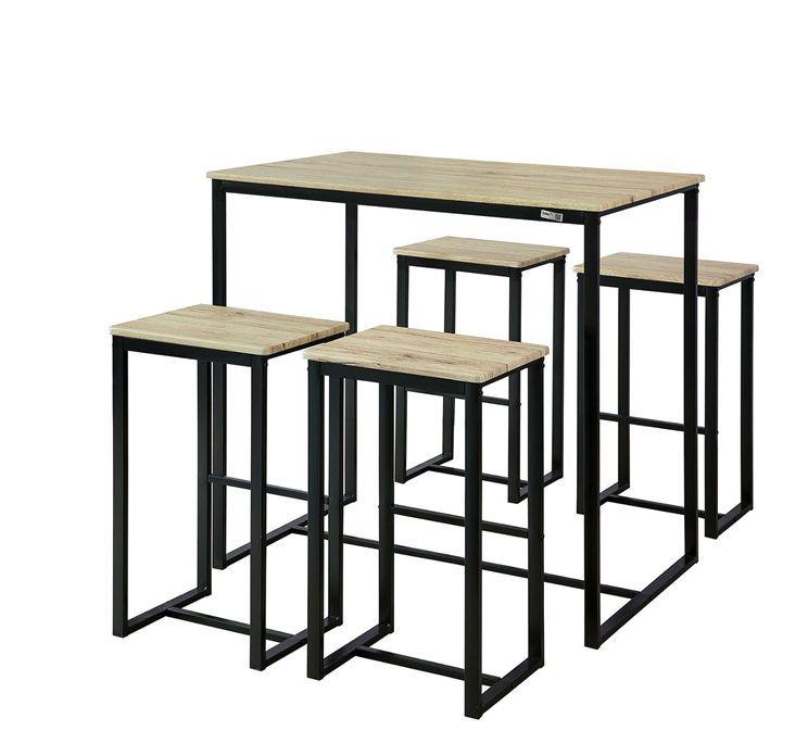 Set De 1 Table 4 Tabourets Ensemble Table De Bar Bistrot
