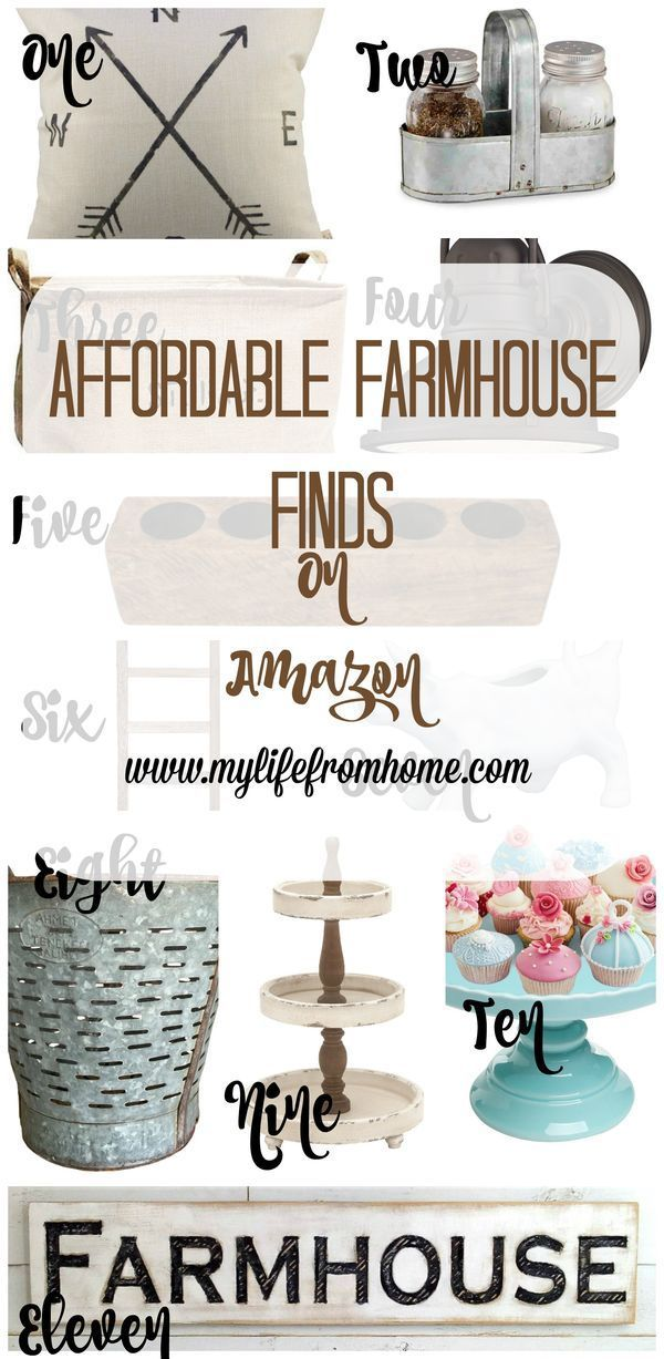 I'm always looking for farmhouse decor at a reasonable price.  Amazon has a huge selection that won't break the bank.  I have compiled the best finds into one post to make it easier for you.  My Life From Home http://www.mylifefromhome.com