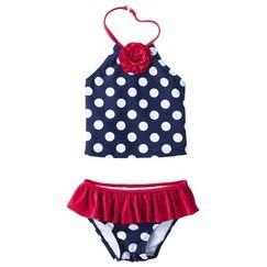 Circo® Infant Toddler Girls' 2 Piece Polka Dot Tankini Set