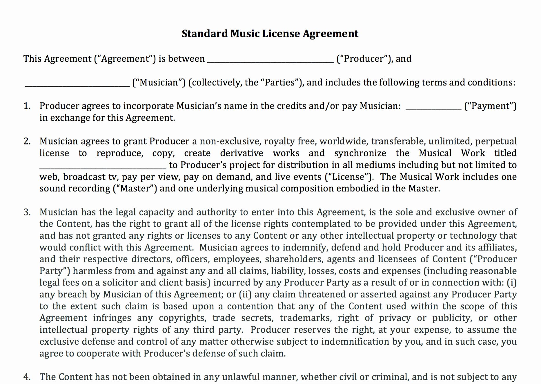 Music Producer Contract Template Awesome Standard Music License