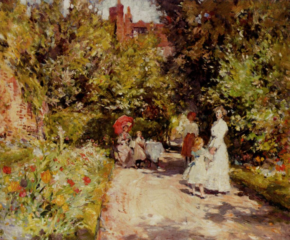 William Christian Symons, High Tea in the Walled Garden
