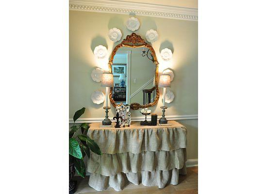 burlap foyer tablecloth