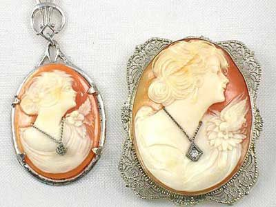 Cameo jewelry two edwardian carnelian shell antique cameos en cameo jewelry two edwardian carnelian shell antique cameos en habille wearing diamond jewelry aloadofball Choice Image