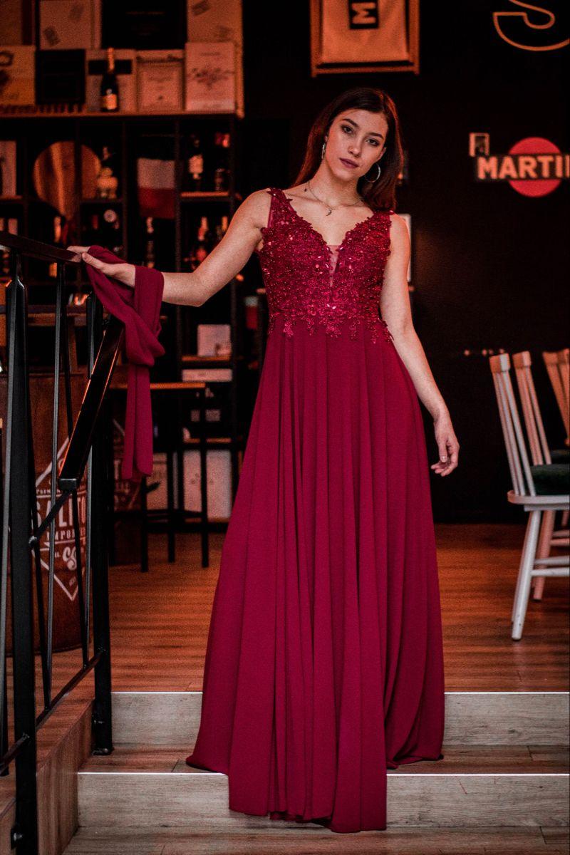 Czerwona Dluga Sukienka Formal Dresses Dresses Sleeveless Formal Dress