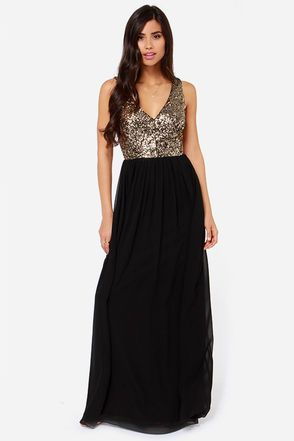 0dd6a97cdec3 LuLu*s Exclusive! You're not one to hold back, so go big with the Maximum  Shine Black and Gold Sequin Maxi Dress! Shining gold sequins cover the  sleeveless ...
