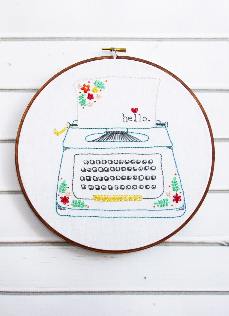 Hello love retro floral typewriter embroidery pattern hello love retro floral typewriter embroidery pattern bankloansurffo Choice Image