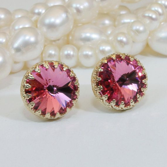Pink Stud earrings 18k Gold Plated Pink Crytal Post by TIMATIBO