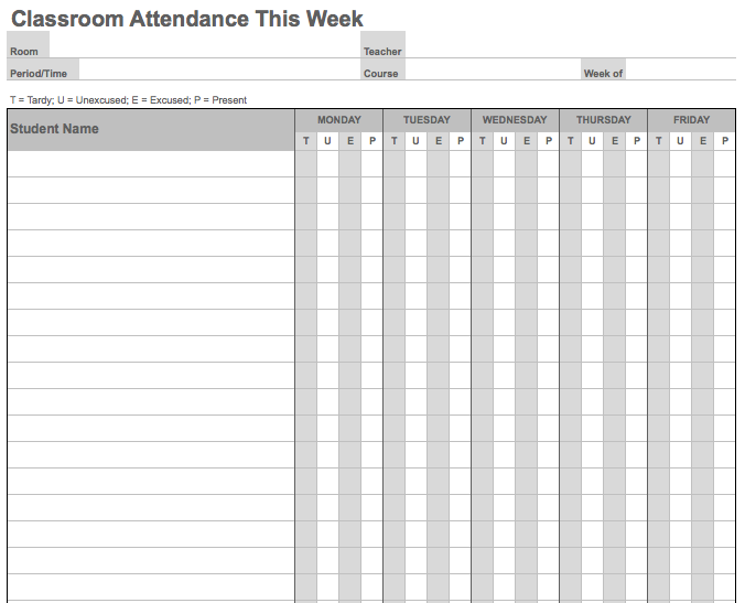 Attendance Sheet Weekly Weekly Calendar Daily Form – Weekly Attendance Template