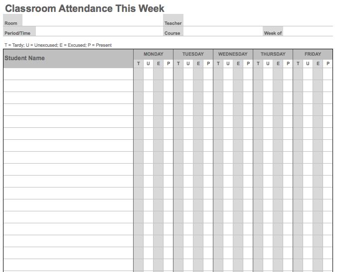Attendance Sheet Template Excel Favorite Places Spaces