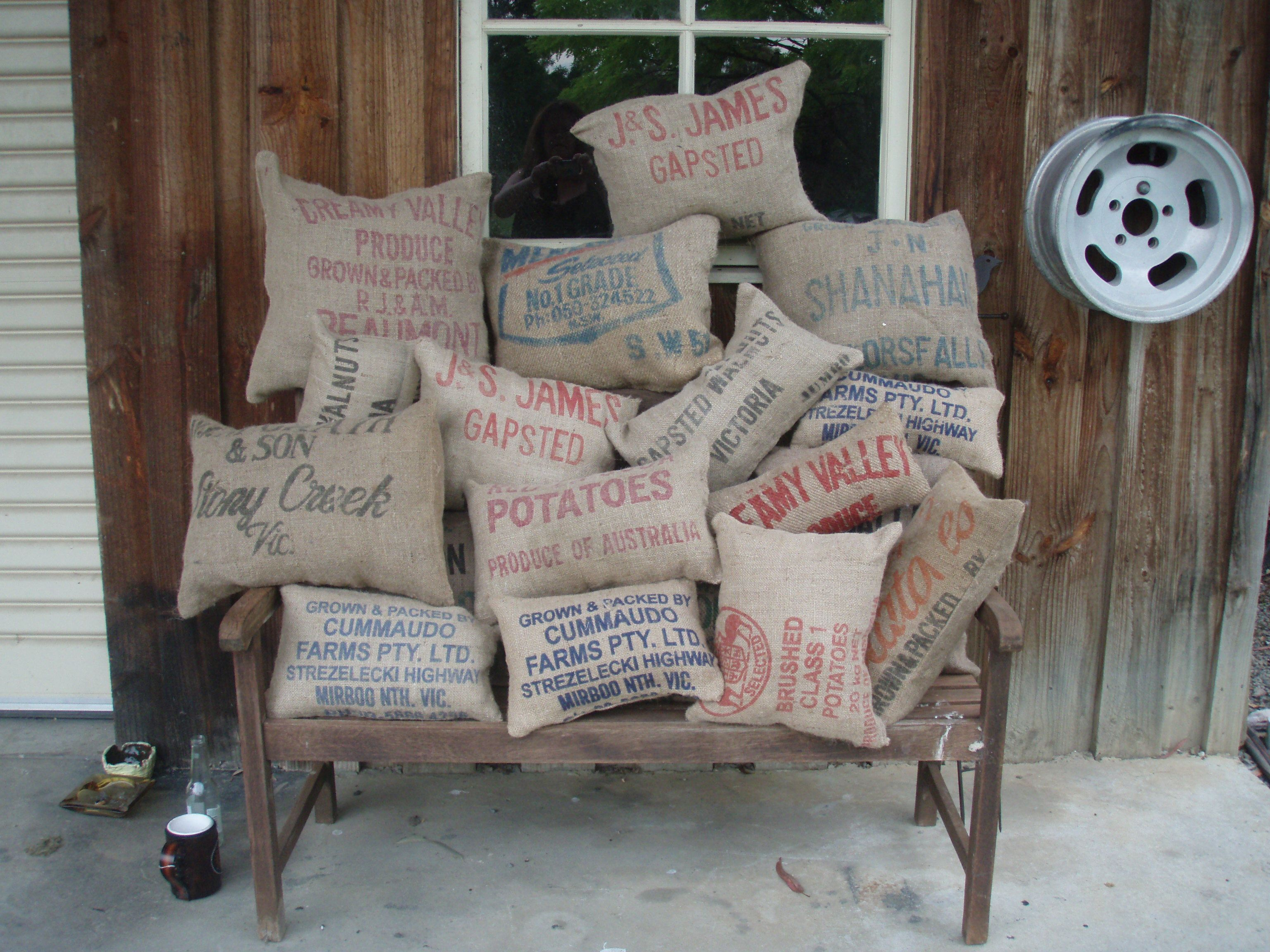 Hand made burlap/hessian vintage potato bags recycled into outdoor cushions with waterproof cushion insert sewn into the cushion