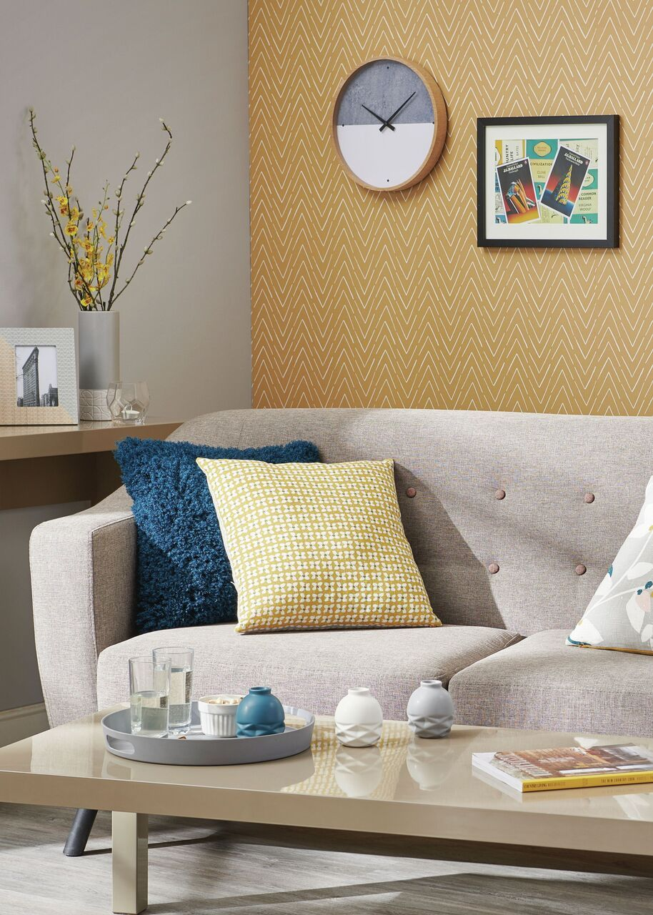 Wallpaper Zig Zag Stripe Yellow Stylish outdoor