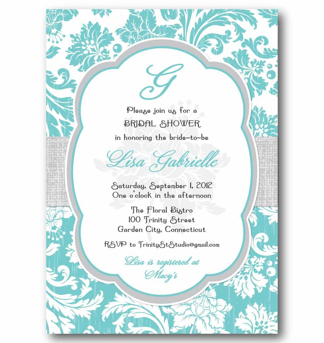 Baby Blue Wedding Invitations: Shabby Chic Vintage Floral Wallpaper Invitation