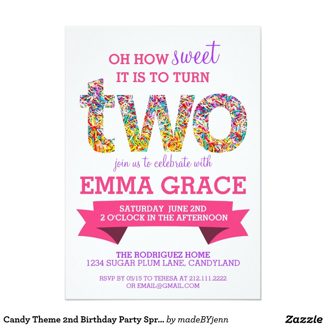 Candy Theme 2nd Birthday Party Sprinkles Invite | Candy theme ...