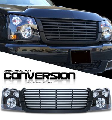 Chevy Silverado 2003 2005 Black Billet Grille And Headlight Conversion Kit