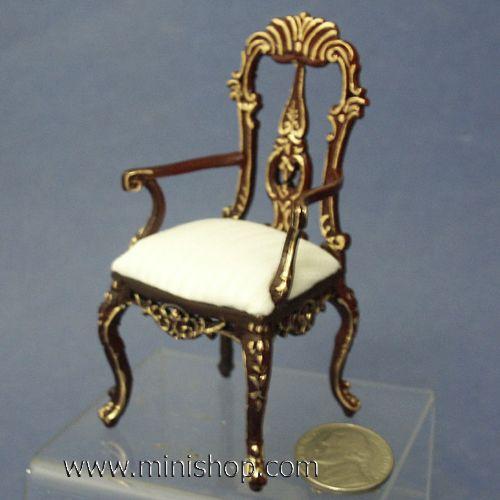 Grande Savoy Arm Chair Gilded Hand Painted Bespaq Dollhouse Furniture