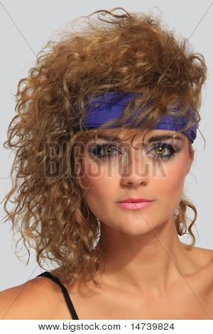80s Fashion Woman Over Gray Background Stock Photo Stock Images