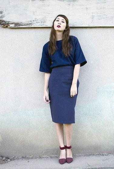 Alyssa Nicole Wool Kimono Blouse, Alyssa Nicole Navy Pencil Skirt, Jeffrey Campbell Heels
