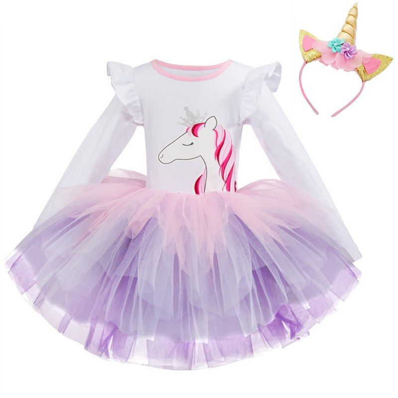 the latest b8a7c 9243f Günstige Kinder Unicorn Kleid für Mädchen Geburtstag Blume ...