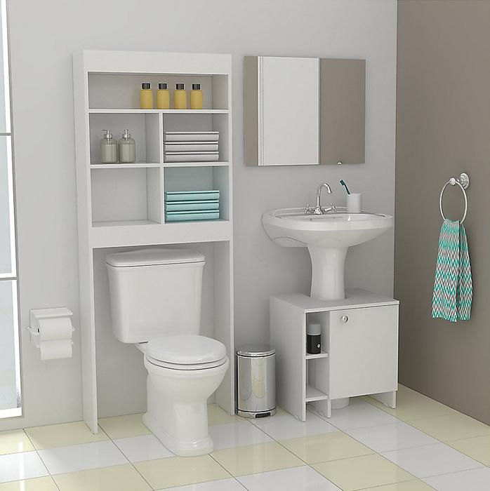 Optimiza el espacio de tu ba o ocupando estantentes con - Alicatar cocina detras muebles ...