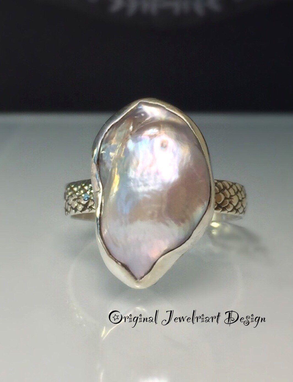 Raw Pearl Ring/Grey Pearl Ring/Freeform Pearl Ring/Modern Pearl Ring ...