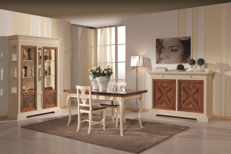 Credenza Avorio Moderna : Arredamento completo soggiorno bicolore avorio e noce grano