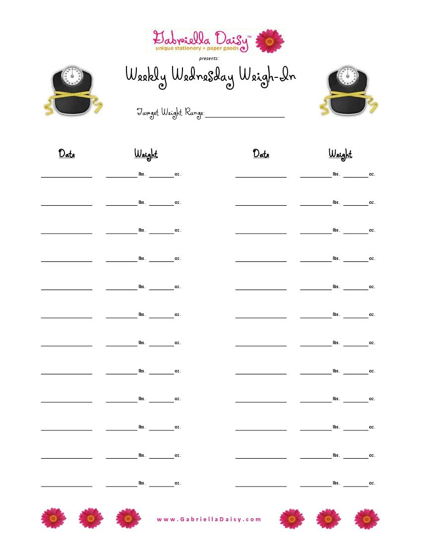 weight loss goal setting worksheet pdf
