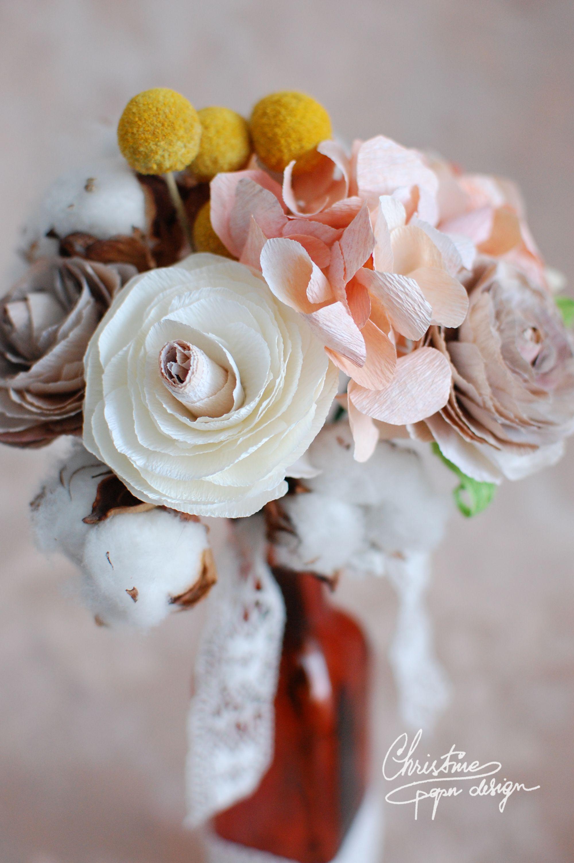 Vintage Flower Arrangement With Paper Flowers Ranunculus And