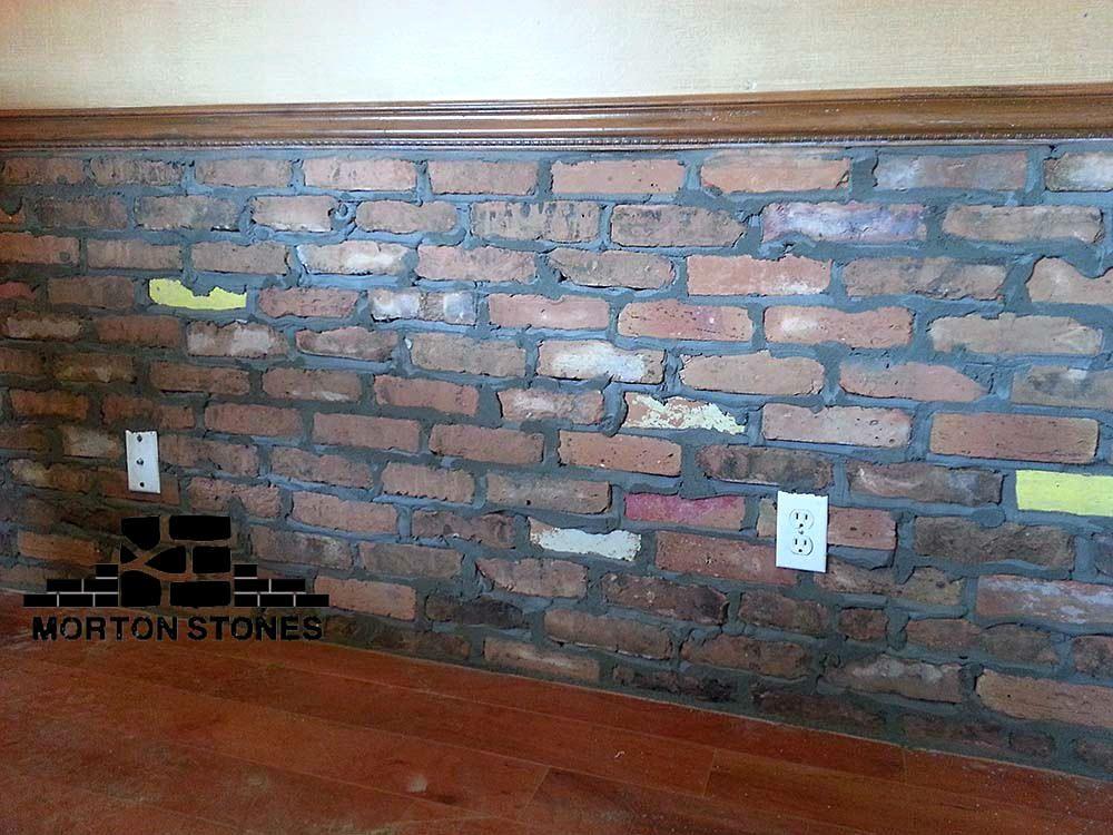 An Interior Brick Wall Installation Project Mortonstones Brick Tiles Rustic Home Decor Brickven Brick Interior Wall Brick Veneer Stone Panels