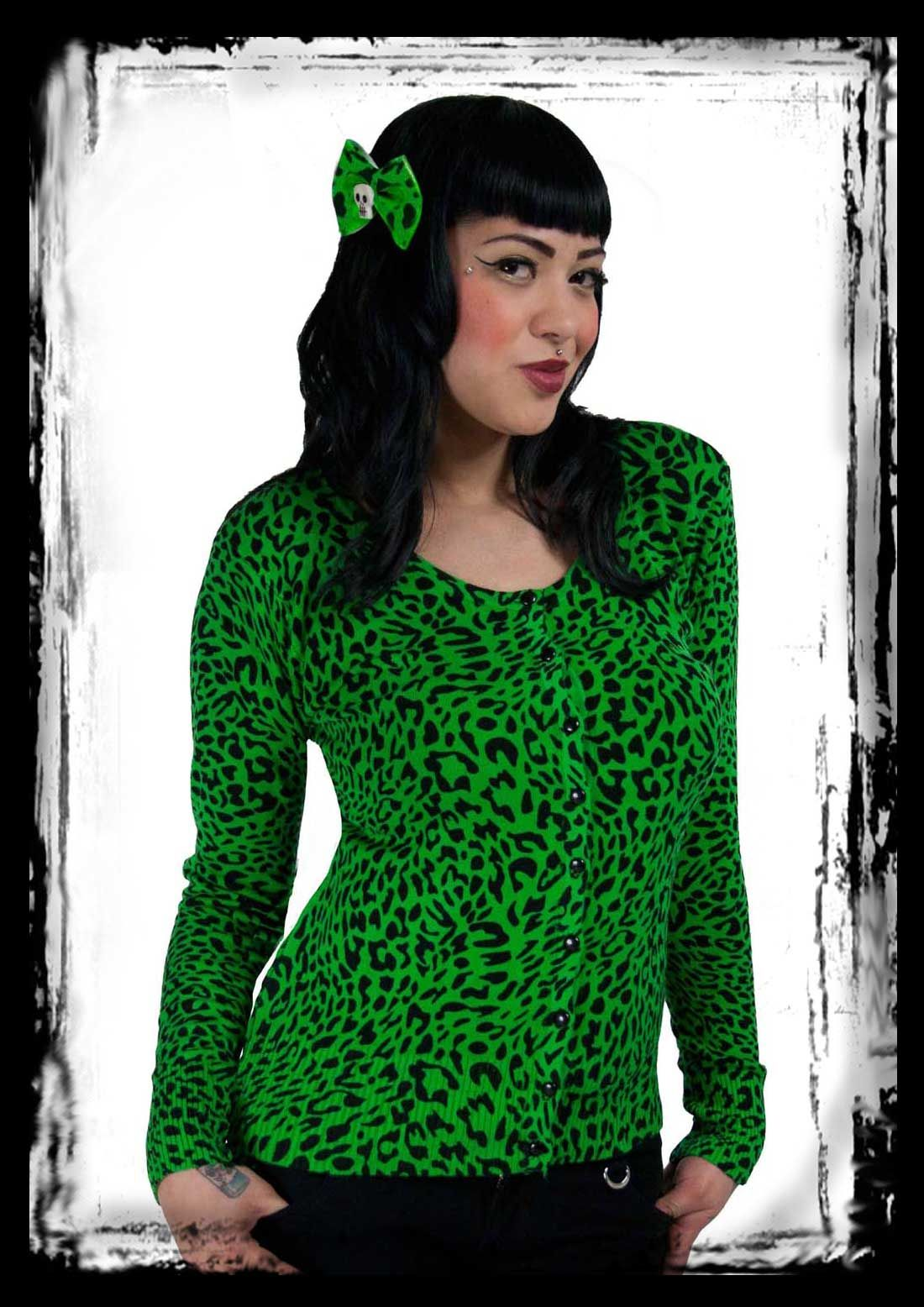 Green Leopard Cardigan size S, M, L, XL by Voodoo Vixen | Deranged ...