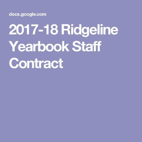 2017-18 Ridgeline Yearbook Staff Contract YB Layouts Pinterest - contract layouts