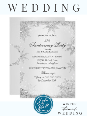 25. Jahrestagsfeier-silberne Winter-Märchenland-Einladung | Zazzle   – Winter Wedding Invitations, Decor, Ideas, Bridesmaid Dresses, Floral Bouquets, Centerpieces, and Christmas Wedding Color Palettes