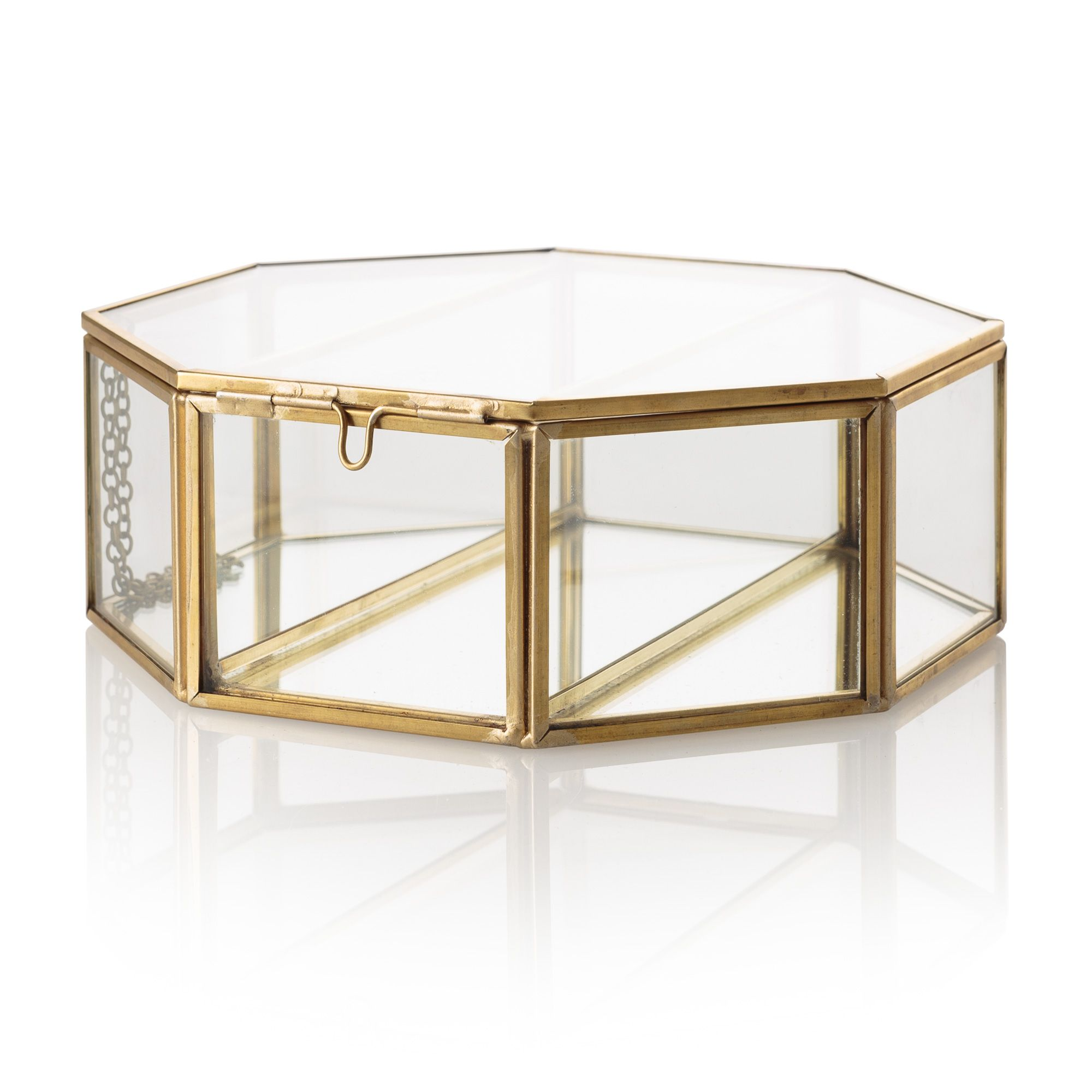 Octagon gold glass mirrored jewellery box best for Mirror jewellery box