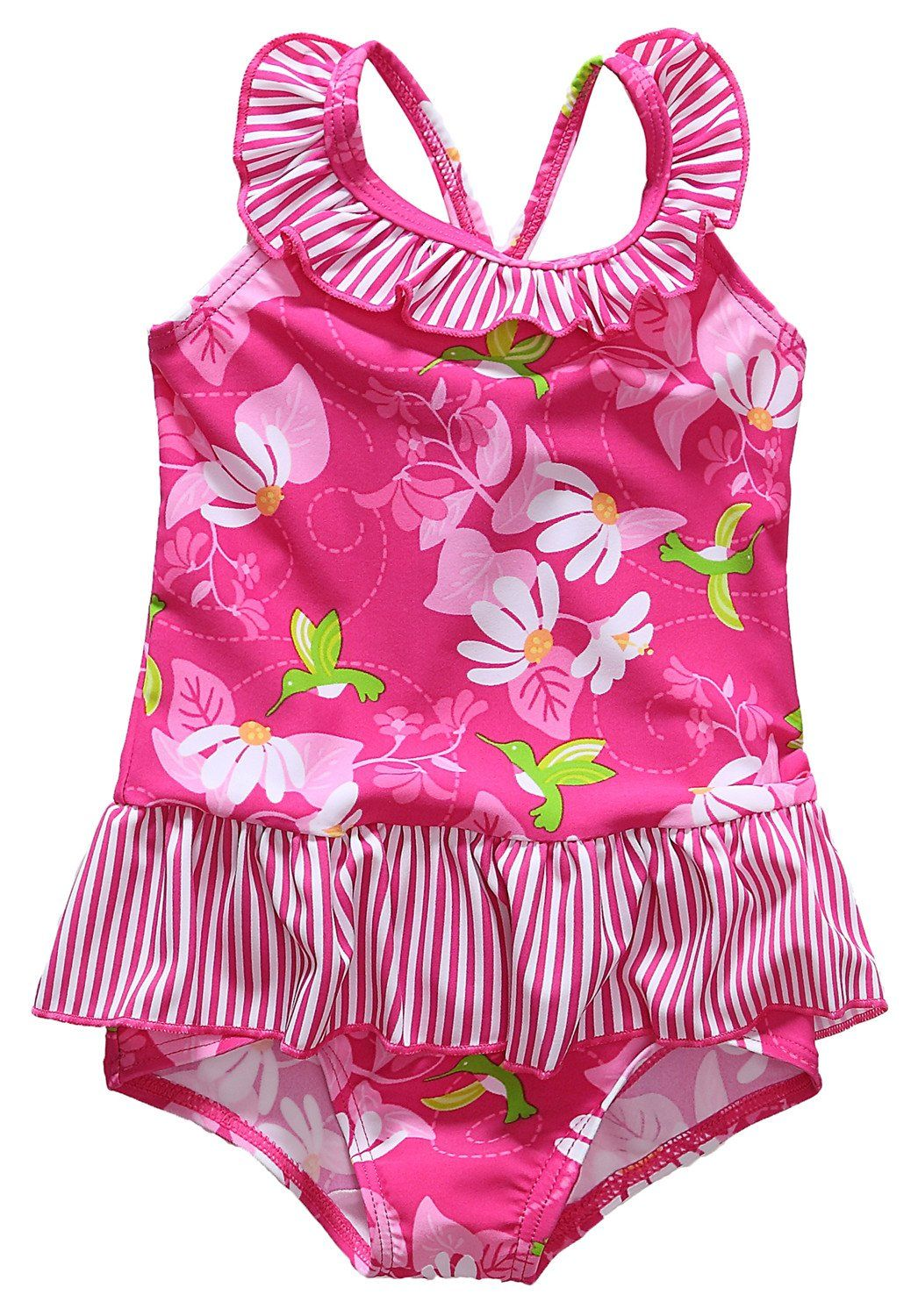 Alove Baby Girl's Hummingbirds Flowers One Piece Striped Ruffle ...